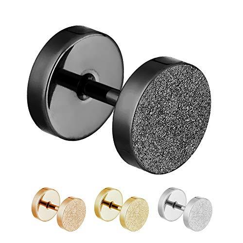 Treuheld® | 6mm Fake Plug Ohrstecker in Diamant Glitzer Optik | Schwarz | Fake Tunnel Ohrring zum Schrauben für Damen und Herren | Chirurgenstahl