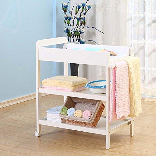 GUO@ Table à langer, Table à langer en bois massif, Station de soins néonatale 0~1 ans, Table de massage pour bébé, Envoyer les coussins couleur miel, blanc lait Meubles de pépinière