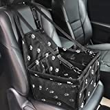 HIPPIH Dog Booster Car Seat, Pet Booster Seat for Car with 2 PVC Support Bars, Portable, Foldable, Breathable Pet Car Carrier with Safety Leash and Zipper Storage Pocket, Upgrade
