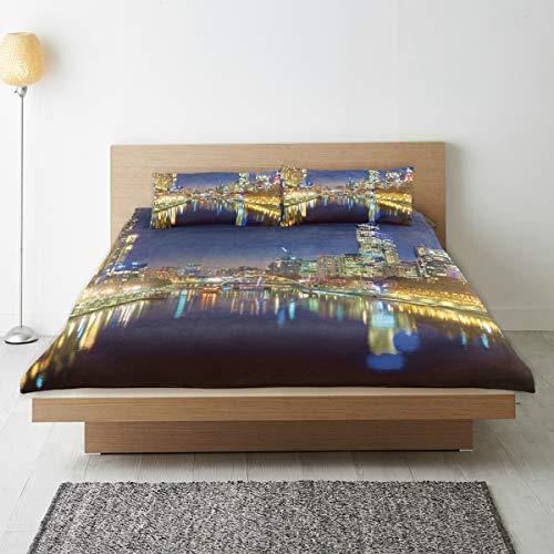 DAHALLAR Bedding Juego de Funda de Edredón,Noche de la Ciudad en el río de Melbourne Impresiones,Microfibra SIN LLENAR,(Cama 240x260 + Almohada)