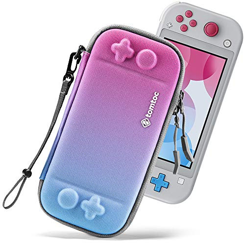 tomtoc Slim Carry Case for Nintendo Switch Lite, Protective Portable Carrying Cases with [Original Patent], Travel Storage Hard Shell with 8 Game Cartridges and Military Level Protection, Galaxy