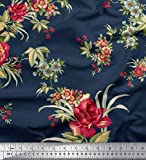 Soimoi Dunkelblau Satin Seide Fabric Leaves,Red Berries &