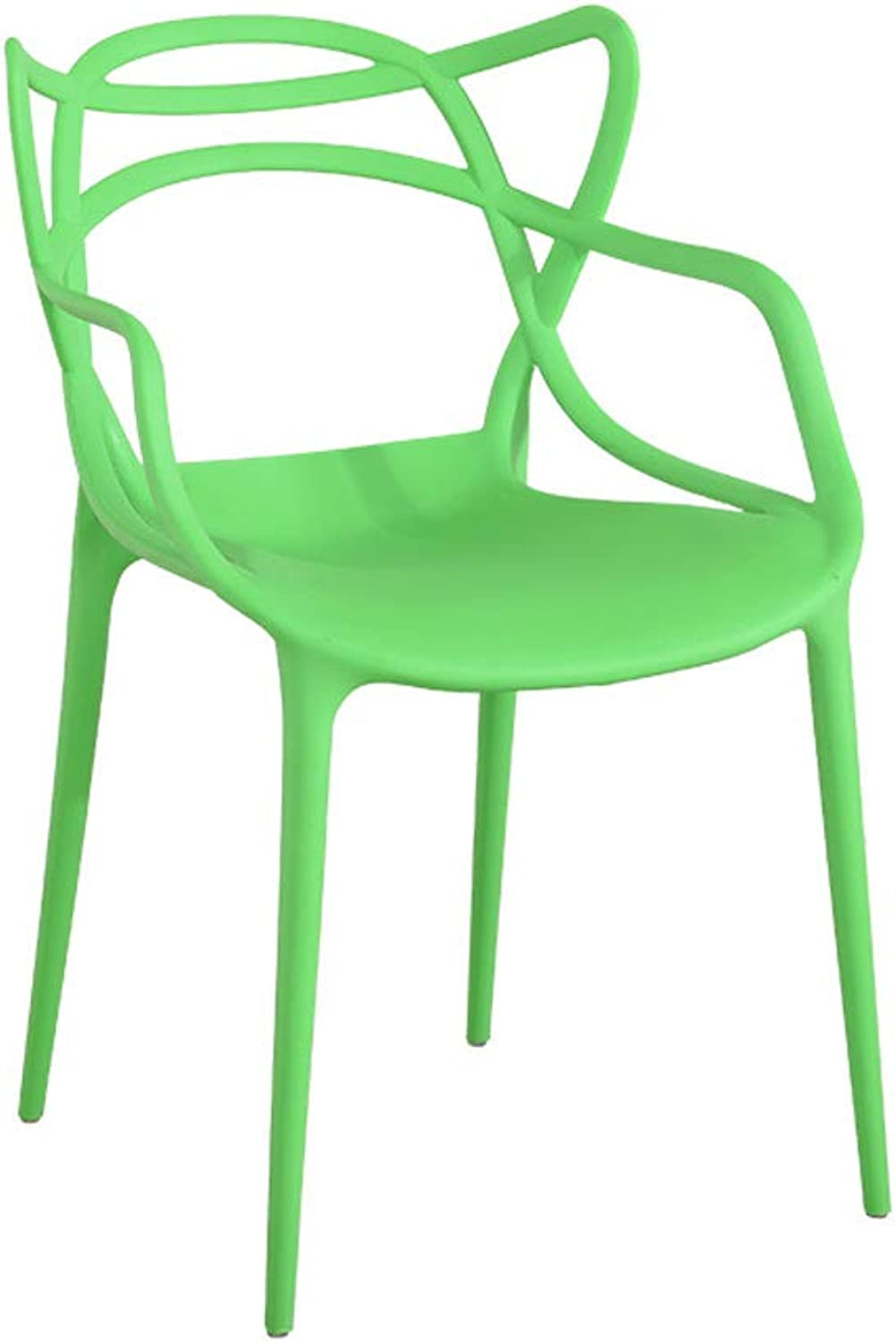 KGMYGS Modern Minimalist Plastic Chair Home Leisure Chair Stylish Backrest Dining Table Six colors Available (color   Green)