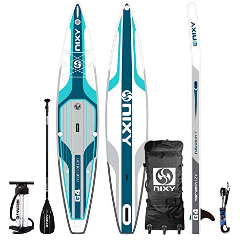 "NIXY Manhattan Paddle Board Touring & Trekking Inflatable SUP 12'6' x 30"" x 6"" Ultra-Light Stand Up Paddleboard Built with Dual Layer Woven Dropstitch Includes Carbon Hybrid Paddle, Pump, Bag & More"