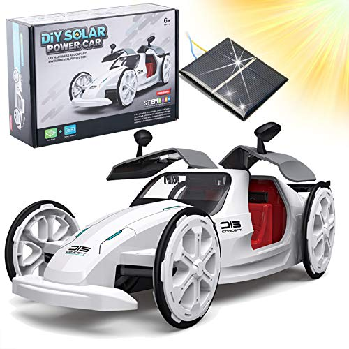 Masefu STEM Solar and Battery Powered Car Toy, DIY Eco-Engineering Science Assembly Vehicle with...