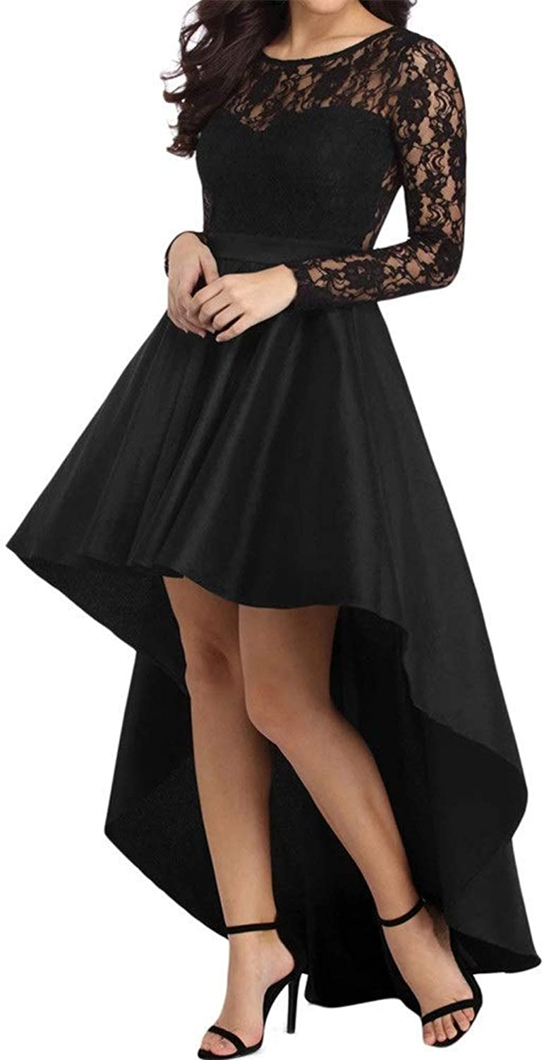 Women's Summer Dresses Dress Casual Round Neck Long Sleeve Lace Swallowtail Satin Ball Party Dress Sleeve Dress with Pockets (color   Black, Size   S)