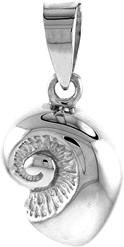 Dainty Sterling Silver Nautilus Shell Necklace Women Flawless Polished Finish 1//2 inch 0.8mm Box/_Chain