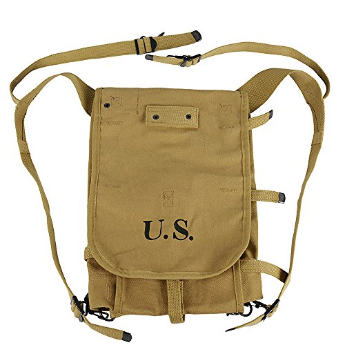 OLEADER WWII US Army M1928 Haversack Bushcraft Gear, Heavy Weight Field Bag Military Backpack Canvas (Khaki)