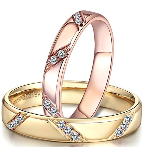 Bishilin Juego de Anillos A Juego 18K Oro Mujer Talla 18,5 & Hombre Talla 18,5 Forma Redonda con Incrustaciones de Diamantes Diamante Anillo de Compromiso y Alianza de Boda Oro Rosa Dorado