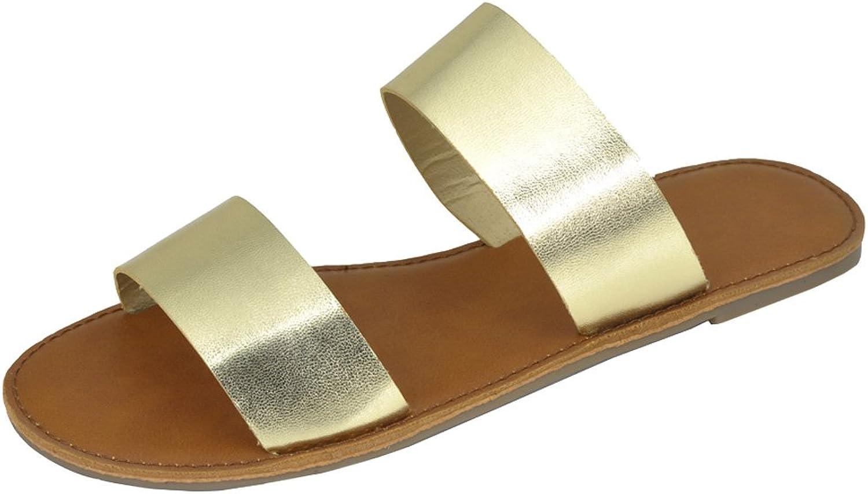 Cambridge Cambridge Cambridge Select Woherrar Open Toe Two Strap Slip -on Casual Flat Sandal  varm begränsad upplaga