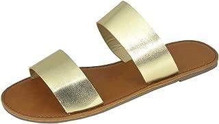 Women's Open Toe Two Strap Slip-On Casual Flat Sandal