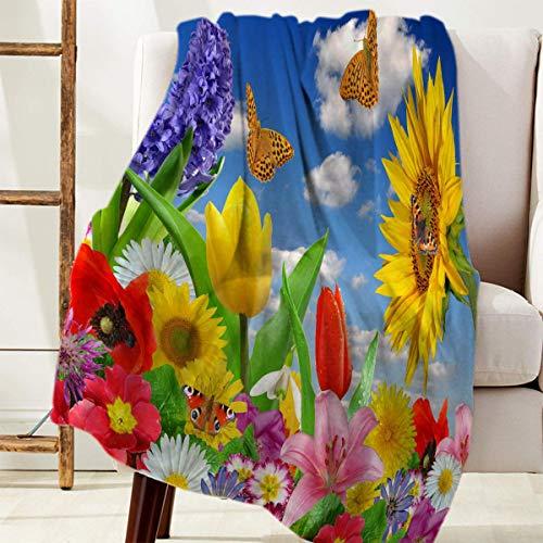 Manta Para Cozy Warm Reversible Throw Blanket Coloridas flores y mariposas bajo el cielo azul Blanket 125 X 100CM