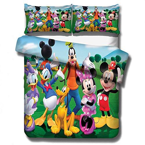 Dibujos animados para niños 3D anime Mickey Mouse funda nórdica juego de cama, dormitorio de niño niña cama doble individual funda edredón ropa de cama textiles para el hogar-A_180x210cm (3pcs)