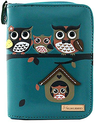 kukubird Owl Family Tree Pattern Medium Size Damen Geldbeutel-Handtasche - 33 BLUE