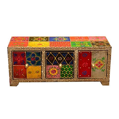 Casa Moro Orientalische Mini-Kommode Chandi mit 3 Schubladen 28x11x10 cm (B/T/H) aus Holz | handbemalte Apotherschränkchen Box Schmuckkasten | Originelle Geschenk-Idee Dekoration | MA27-05