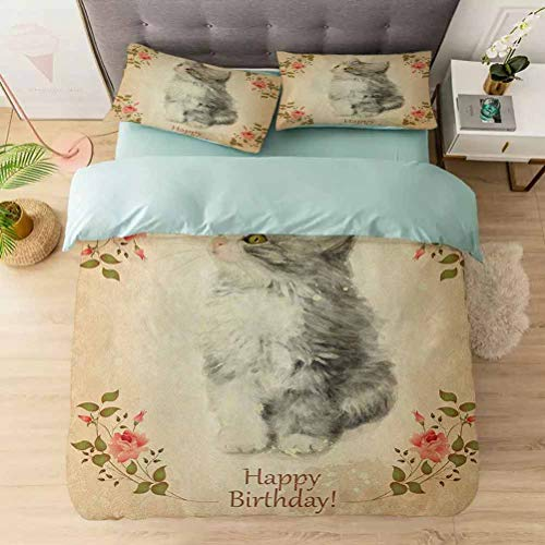 Aishare Store 3 Pieces Duvet Cover Set, Adorable Fluffy Cat with Rose Branches in Greeting Card Inspired Design, Printed Duvet Cover Set with Ultra-Soft Microfiber, Tan Grey Coral