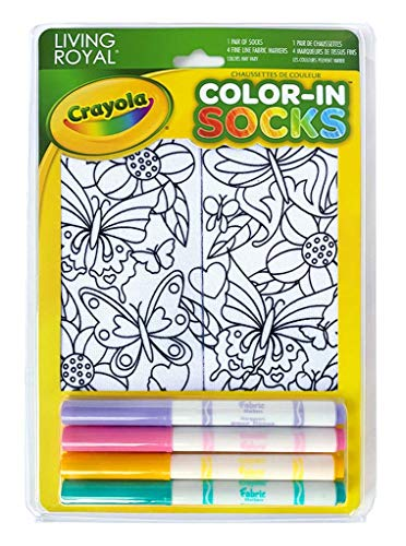 Kid's Color - in Socks - includes 1 Pair of Socks and 4 Fabric Markers by Living Royal - Chameleon