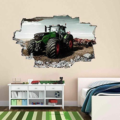 QAW Wandtattoo Traktor Wandaufkleber Wandbild Aufkleber Pflanze Landmaschinen Kinder Jungen Zimmer
