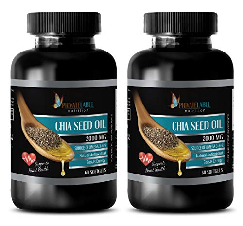 Memory Supplements Natural - CHIA Seed Oil 2000MG - Source of Omega 3-6-9 - Supports Heart Health - chia Seed Protein - 2 Bottles (120 Softgels)