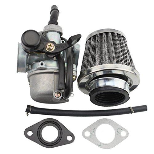 GOOFIT Carburador 19 PZ19 Moto con Filtro de Aire 35mm con Membranas para 2 Tiempos 50cc 70cc 90cc 110cc 125cc Pit Bike ATV Quad Ciclomotor y Scooter Go Kart Plata