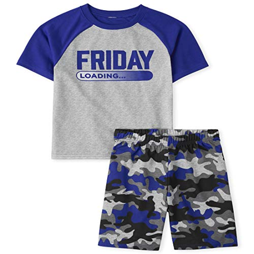 The Children's Place Boys' Friday Two Piece Pajama Set, Black, Large