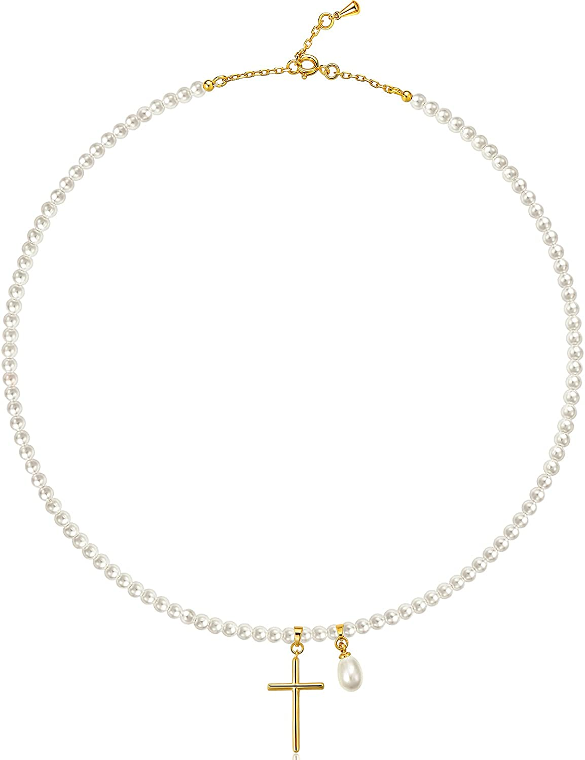 Yorzahar Pearls Choker Necklace Handpicked Cross Pendent Necklace 18K Gold Plated Pearls Strands Choker for Women Day Jewelry