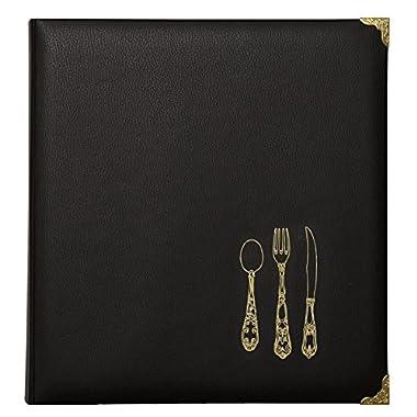 C.R. Gibson Leatherette Recipe Binder, Black/Multicolor