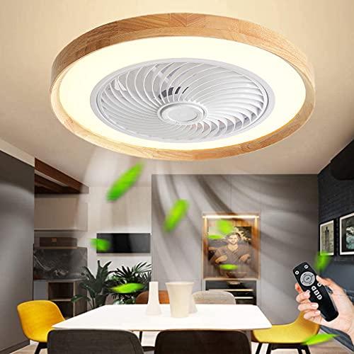 Ventilador De Techo De Madera Con Iluminación Ventilador De 3 Velocidades Luz De Techo 72W Regulable Con Control Remoto LED Luz De Ventilador Con Temporizador Para Dormitorio Sala De Estar Oficina