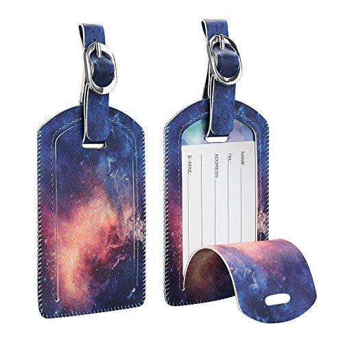 [2 Stück] Fintie Kofferanhänger aus Kunstleder, Gepäckanhänger ID Etikett mit Adressschild Namenschild für Reisetasche Koffer, Die Galaxie