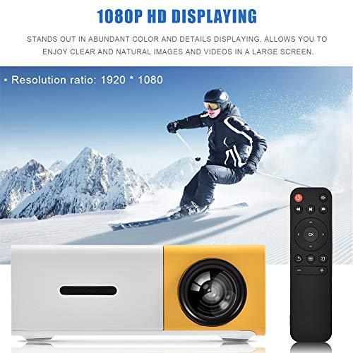 Zunate Mini proiettore a LED, 320 x 240 cm, portatile, piccolo proiettore a LED, a colori, per videogiochi, feste, intrattenimento all aperto, con interfaccia HDMI AV e telecomando (2)
