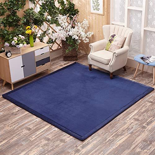 Insun Tapis Shaggy à Poil Tapis Déco Tatami Japonais Anti Dérapage Lavable Bleu foncé 200x200cm