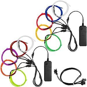 YuCool 10 Pack 3ft Portable EL Wire, luz de neón para la decoración de la Fiesta de Navidad de Halloween Mejoras para el hogar - 10 Colores
