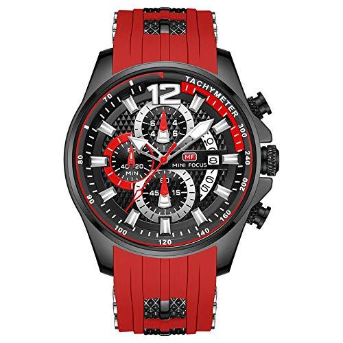 QZPM Reloj Analógico De Cuarzo para Hombre Manos Luminosas Multifunción Calendario Impermeable Correa En Silicona Casual Negocio Relojes,Rojo