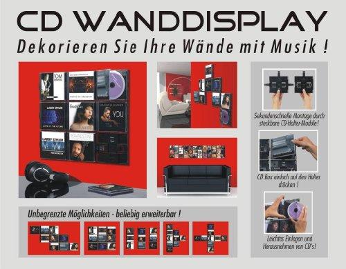 CD Wanddisplay / CD Wandhalter / CD Halter für 9 CD´s - Zur bildhaften Wandpräsentation Ihrer Lieblings CD Sammlung