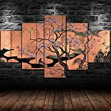 60Tdfc Stampe E Quadri su Tela Pittura Murale Decorazione Domestica 5 Tradizionali Giapponesi Fiori di Ciliegio Soggiorno Poster HD
