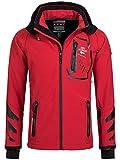 Geographical Norway Ticket - Chaqueta cortavientos para hombre con capucha desmontable, Primavera-verano 17., Softshell Jacket, Hombre, color rojo, negro, tamaño S
