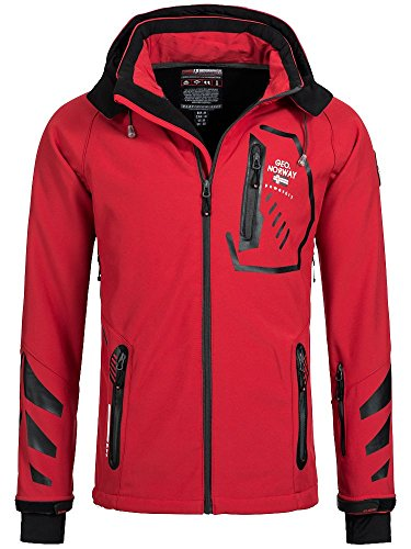 Geographical Norway Ticket Veste en softshell à capuche amovible Pour homme -  Rouge - Medium
