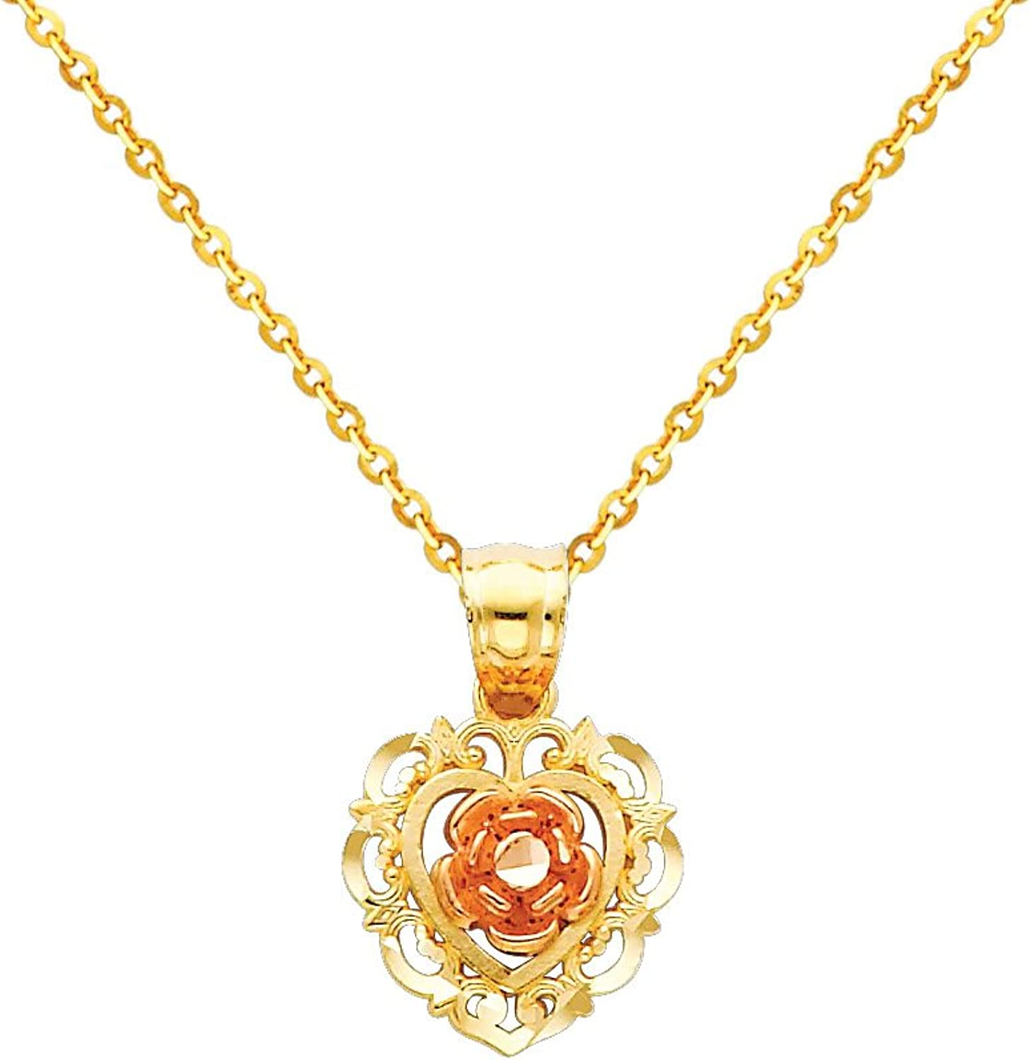 14k Tri color gold Flower Charm Pendant with 1.2mm Side Diamondcut Rolo Cable Chain Necklace