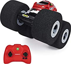 SAFE AND FUN INDOOR RC: Stunt Shot's super soft foam wheels make it different from any other RC! It drives on and over anything with ease and won't wreck walls, furniture or scratch floors! MASTER AMAZING STUNTS: Stunt Shot can do flips, 360-degree s...
