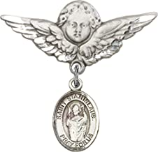 Sterling Silver Baby Badge with St. Stanislaus Charm and Angel w/Wings Badge Pin St. Stanislaus is the Patron Saint of Broken Bones 1 1/8 X 1 1/8