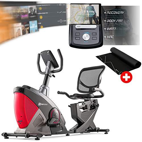 Hop-Sport Liegeergometer HS-070L mit Unterlegmatte - Liegeheimtrainer mit Bluetooth & App-Steuerung, 12 Trainingsprogramme, 16 Widerstandsstufen – Sitzergometer max. Nutzergewicht 150 kg rot