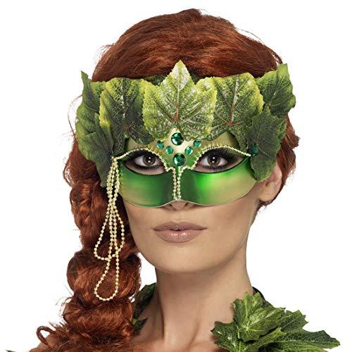 Amakando Außergewöhnliche Cosplay-Maske Elfe / Grün / Geheimnisvolle Fantasie-Halbmaske Wald-Geist / EIN Blickfang zu Mottoparty & Fasching