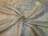 Puresilks BRO696A Brokat-Stoff, Silbergrau, Metallic-Gold,