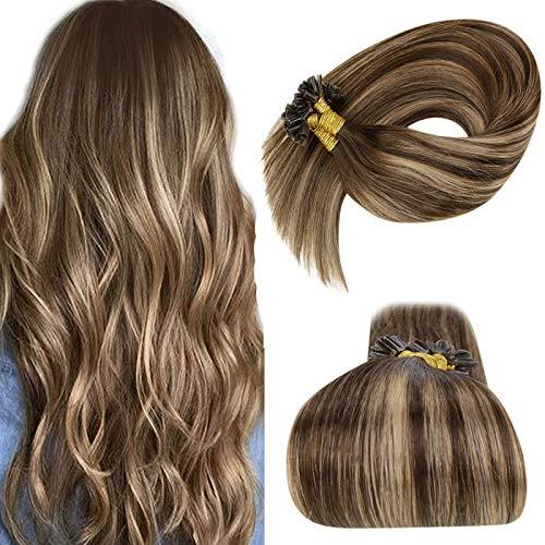"LaaVoo Brown U Tip Human Hair Extensions Balayage Dark Brown Ombre Ash Blonde Keratin U Tips Remy Hair Extensions Natural Human Hair Brown Utips Extensions Hot Fusion 1g/s 50g 18"" #4/18/4"