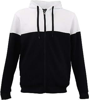 Men's Fleece Lined Two Tone Zip Up Hoodie Sport Hooded Jacket Jumper Sweat Shirt