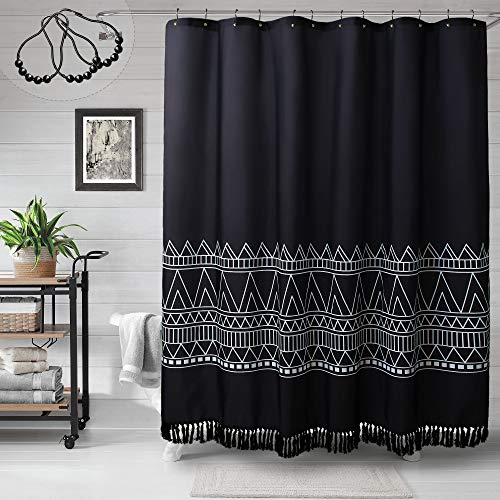 MitoVilla Black Boho Shower Curtain Set, Modern Farmhouse Tassel Shower Curtain Liner, Abstract Geometric Shower Curtain for Bathroom Decor, Tribal Fabric Standard Shower Curtain, 72 x 72