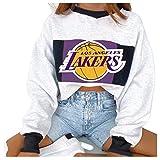 YANGLIXIA Lakers Basket Pullover Donne con Cappuccio Jersey, Ventilatori da Basket Tracksuits Tutte Le Drysuiti Quick Drysuits Felpa Maglione Allenamento Manica Lunga White-M