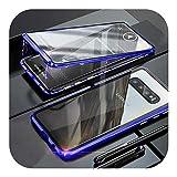 Auangao サムスンギャラクシーS8 S9 S10プラス360フルケースサムスンノート9 8 10プラスケース用メタルバンパー両面ガラスカバー-Blue-For S9