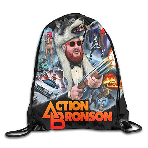 JHUIK Drawstring Bag Backpack,Action Bronson Mode Sac à Dos Design épaule Sac à Cordon Homme Femme Sacs Blanc Taille Unique