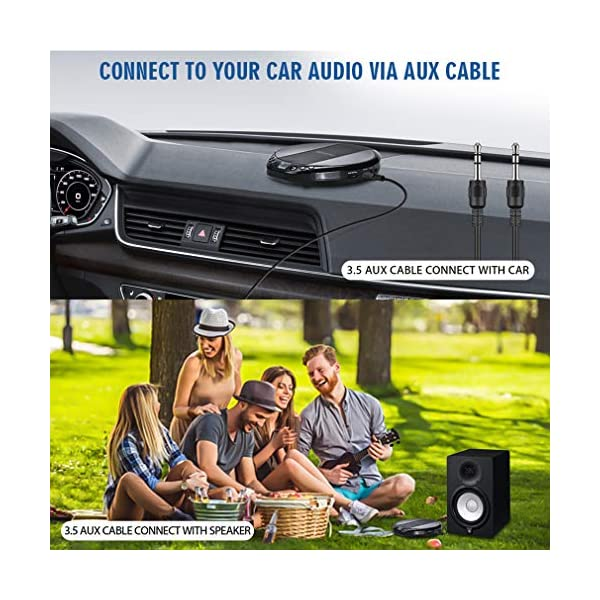 Portable CD Player for Car HiFi Lossless Small CD Player with Headphone CD Discman Compact Disc Personal Walkman Player Shockproof Anti-Skip 5